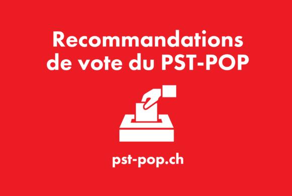 Recommandation de vote du PST-POP pour la votation du 29 novembre 2020