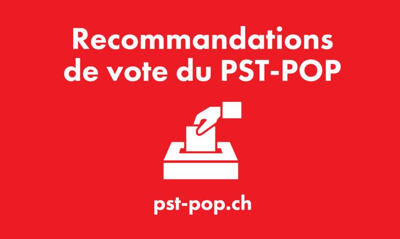 Les recommandations de vote du PST-POP pour la votation du 27 septembre 2020